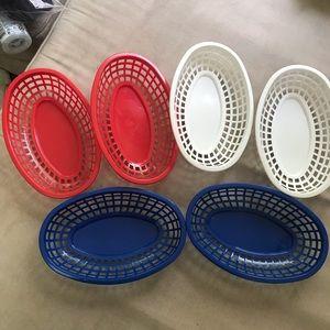 Set of six plastic serving baskets